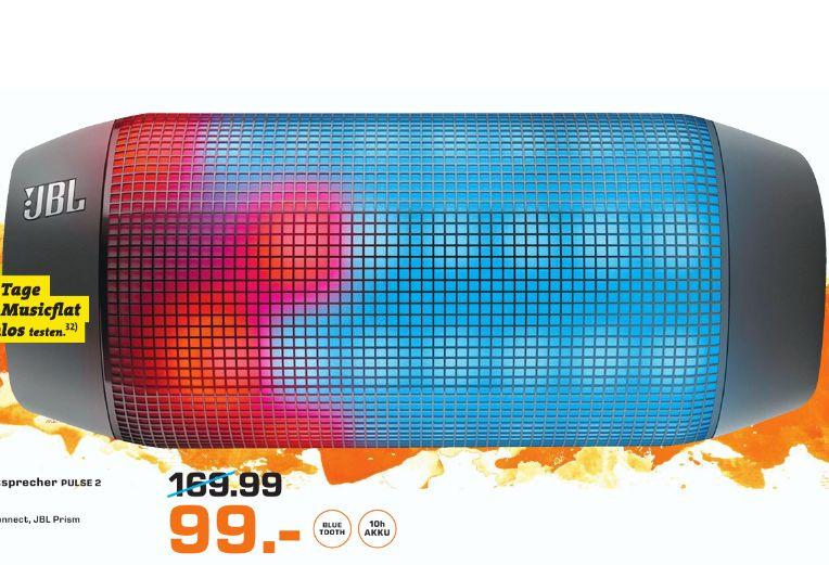 [Lokal Saturn Kaiserslautern] JBL Pulse 2 Spritzwasserfester Tragbarer Bluetooth Lautsprecher mit Interaktiver Lightshow und Freisprecheinrichtung - Schwarz für 99,-€