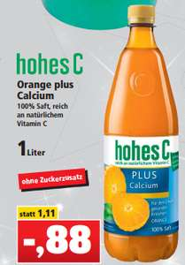 Hohes C Plus Orange + Calcium 1,0l für 0,88€ [Thomas Philipps]