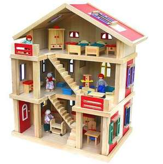 Großes Puppenhaus aus Holz mit Möbeln und Puppen 54x37x69cm für 59,95€ bei [Allyouneed]