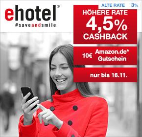 [Shoop.de] ehotel: 10€ Amazon.de Gutschein* + 4,5% Cashback auf Hotelbuchungen