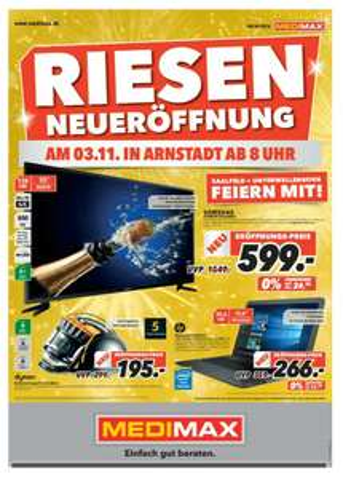 Neueröffnung MediMax in Arnstadt am 3.11. z.B. Samsung UE55JU6050 für 599,00 statt 749,00 (idealo)