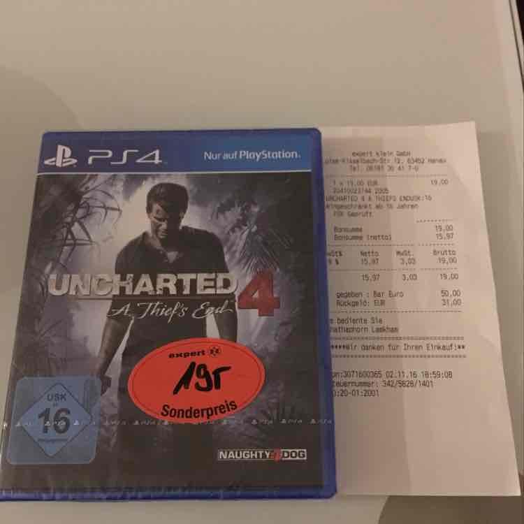 Uncharted 4 A Thief's End für 19€ LOKAL Hanau PS4