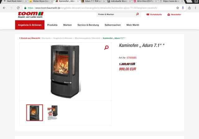 Moderner Kaminofen Aduro 7.1 bei toom 999€ ca. 179€ unter Hornbachpreis
