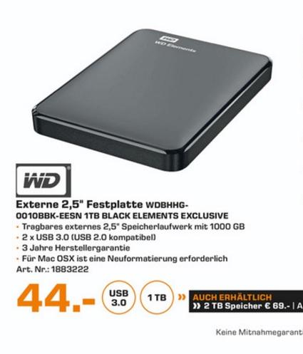 """(Lokal) WD Elements Portable 1TB 2,5"""" 3.0 für 44€ 2TB für 69€ @ Saturn Essen"""