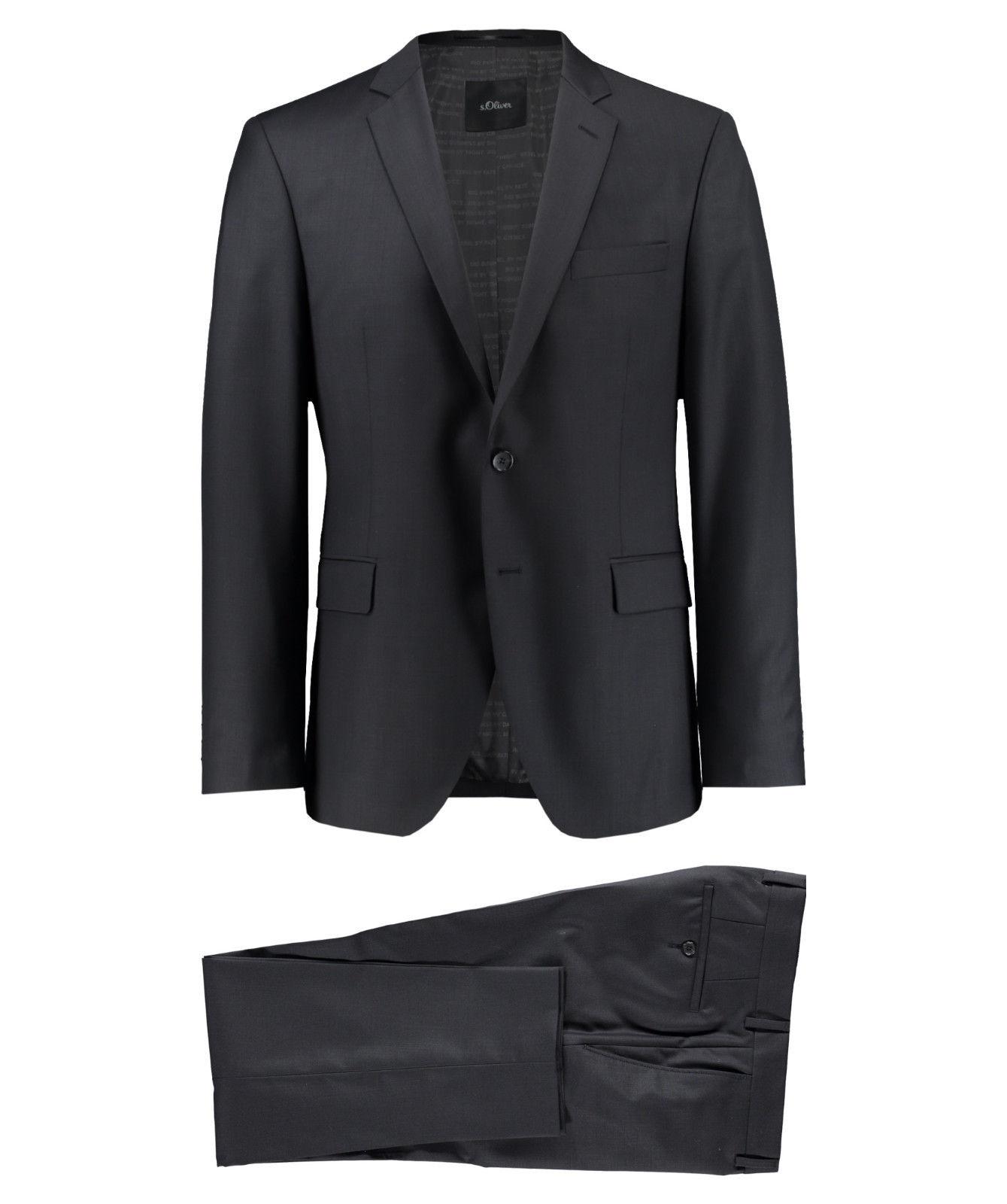 (engelhorn via ebay wow) s.Oliver Herren Anzug Regular Fit Schwarz Größen 25-27 / 44-56 / 90-106 NEU