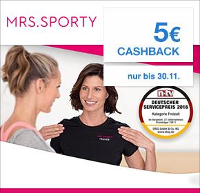 [Shoop] Mrs.Sporty 30 Tage kostenlos trainieren und 5€ Cashback erhalten + 2 Monate zum Preis von einem trainieren
