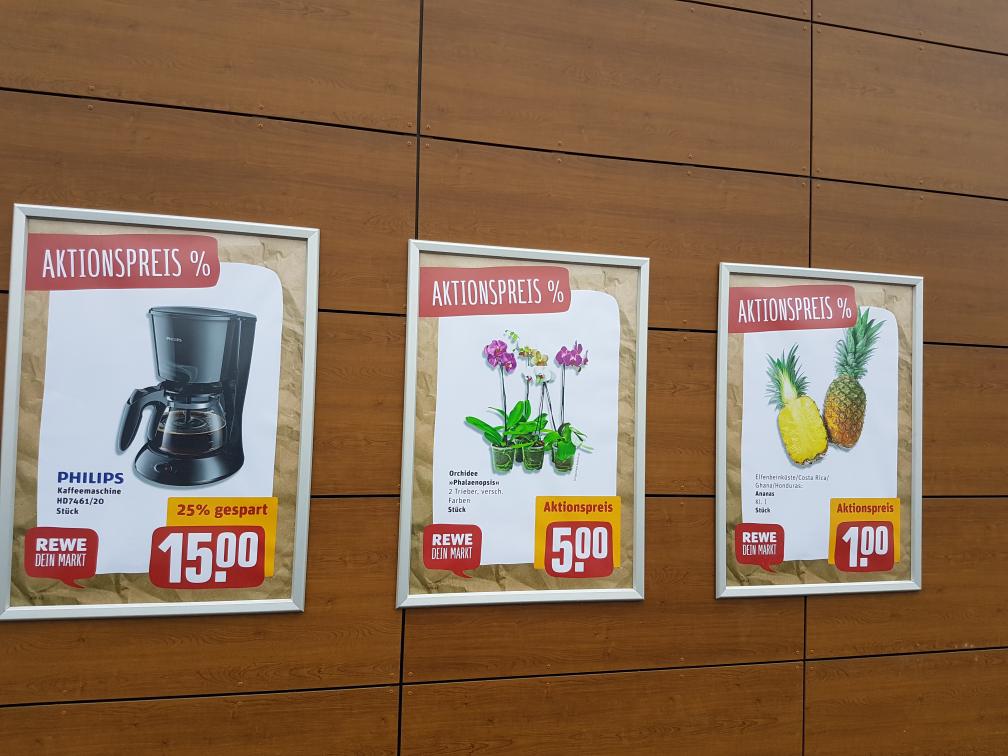 Rewe Neueröffnung Bielefeld-Hillegossen Ananas Dole 1 € philips Kaffeemaschine 15€