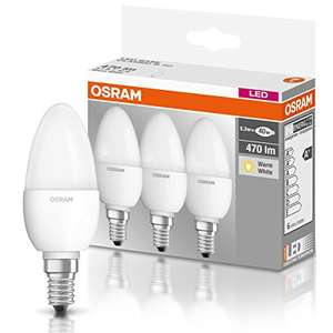 [AMAZON PRIME] OSRAM LED-Kerzenform E14 BASE Classic B / 5,7W - 40 Watt-Ersatz, LED-Kerzenlampe / matt, warmweiß - 2700K / 3er Promo-Pack