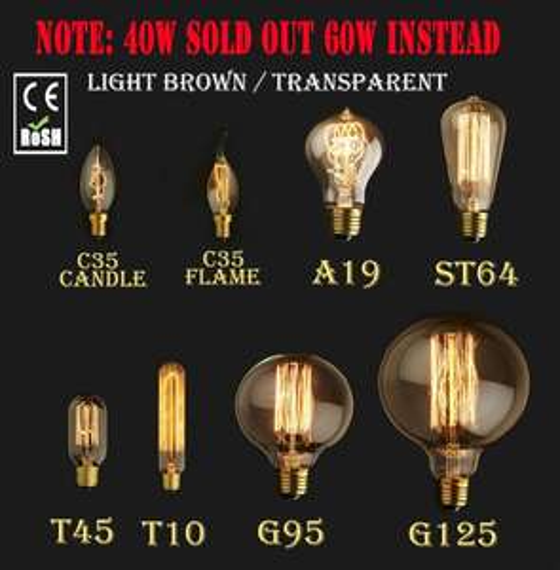 Edison Bulb T10 E27 40W 220V Vintage Glühbirne