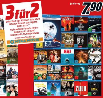 Media Markt 3für2 Film-Aktion