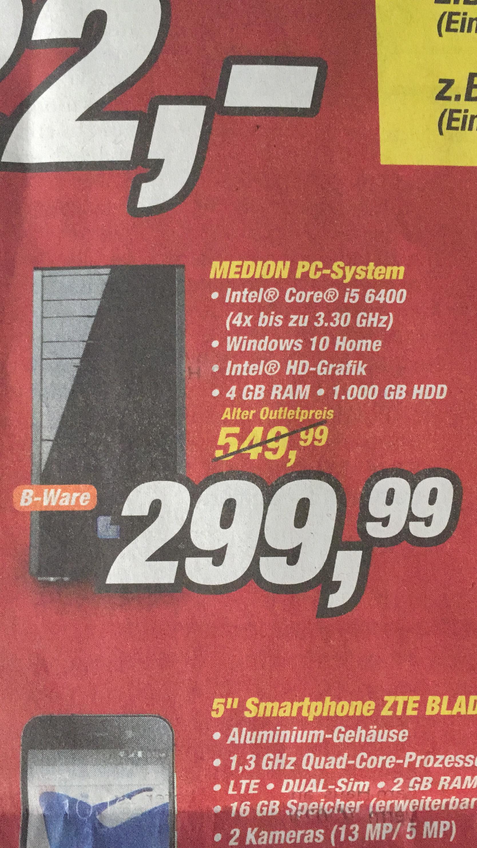 Medion Fabrikverkauf, PC i5-6400, 4GB, 1000GB, Windows 10, B-Ware, in Essen
