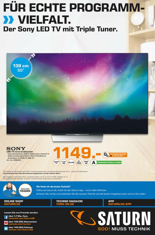 [Lokal Saturn Bielefeld] Sony KD 55 XD8505 4K HDR für 1140€ (Idealo 1299€) und Bose SounTouch 10 und 300