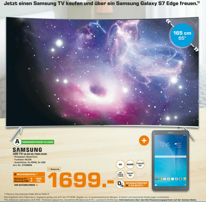 Samsung UE65KS7590 Lokal in Saturn Paderborn | Curved + Ultra HD Premium zertifiziert + HDR10 #Plus Galaxy Tab A (16) bei Kauf bis 05.11.#