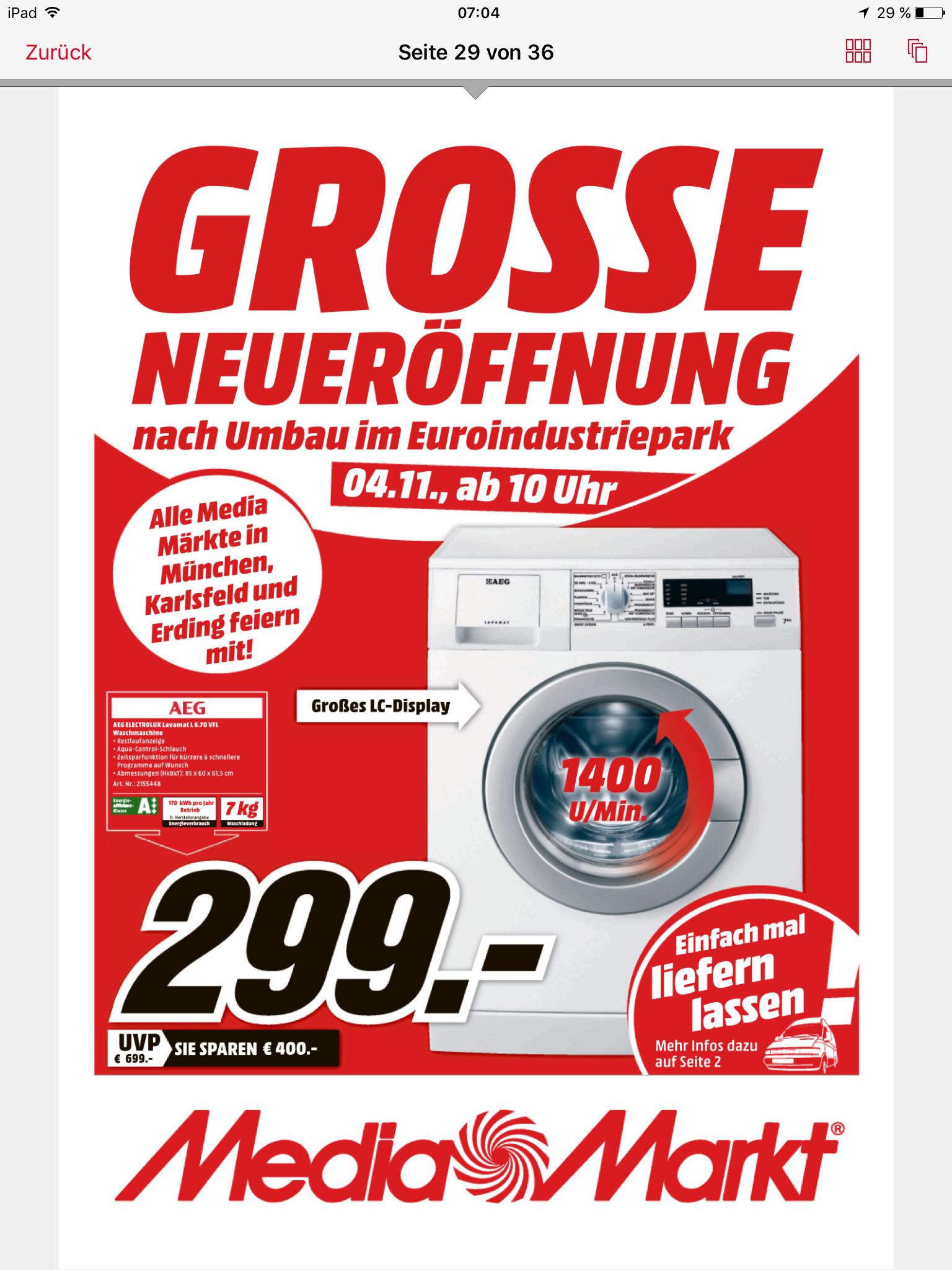 (Lokal München Mediamarkt) AEG L6.70VFL Waschmaschine (7 kg, 1400 U/Min., A+++) nur 299 Euro
