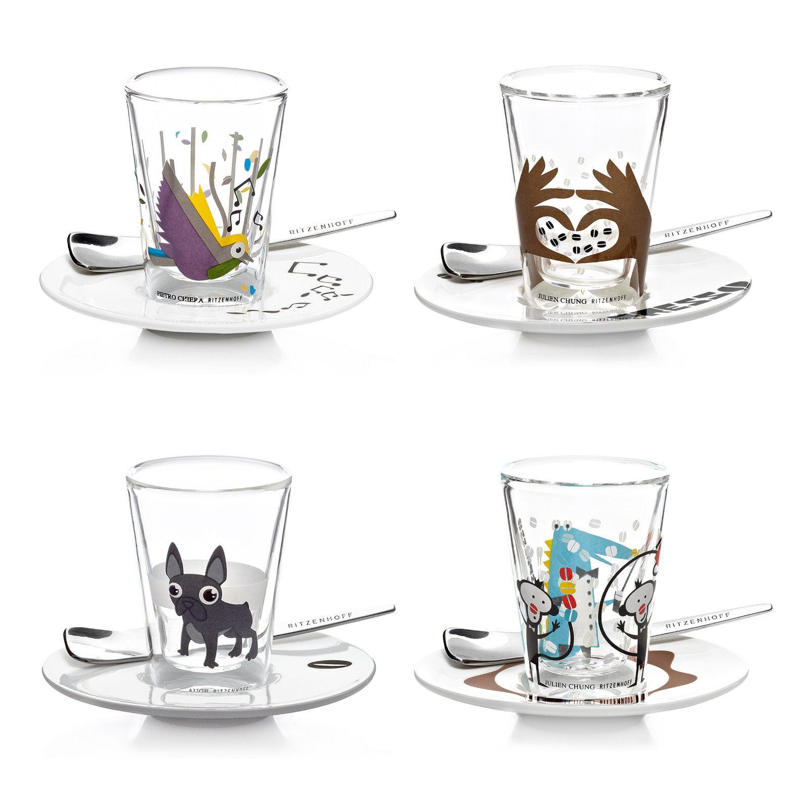 Ritzenhoff Bacino Espresso Glasset doppelwandig m. Untertasse u. Löffel 70ml 2er Set @ebay 19,95€