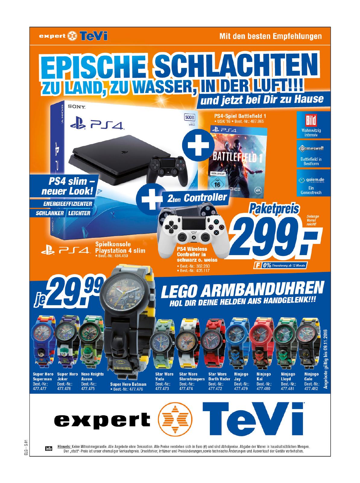 Lokal (Expert Tevi Nürnberg )   PS4 Slim 500GB mit Battlefield 1 und 2. Controller