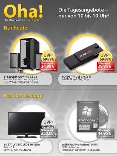 Nur Donnerstag: Windows 7 Professional 64Bit für 44,95€ @MeinPaket