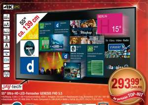 [Metro ab 17.11] JAY-tech Genesis UHD TV (55 UHD Edge-lit, 250cd/?m², 4.000:1, 6ms, 3x HDMI [2.0], 2x USB, CI+, EEK A) für 339,85€