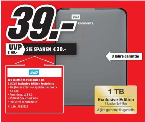 [Lokal Mediamarkt Magdeburg] Western digital WD Elements Portable 1TB Festplatte USB 3.0 (Schwarz) inc. Softbag für 39,-€