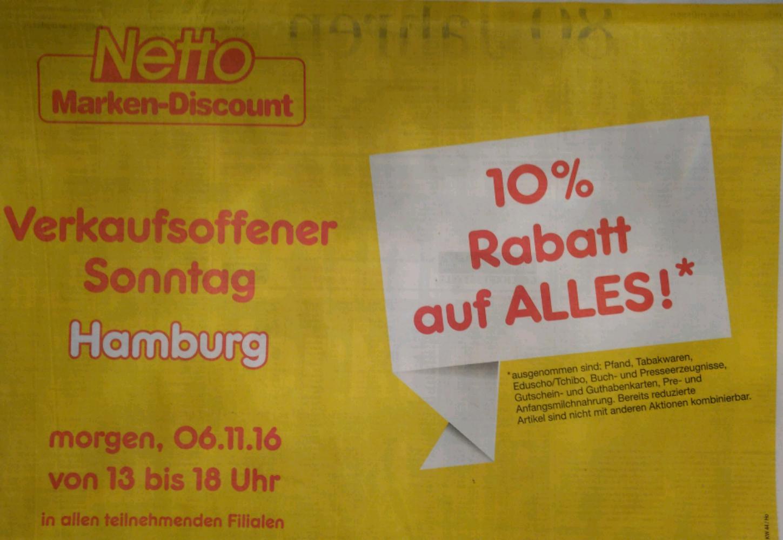[Lokal - Hamburg] - 10 % bei Netto Markendiscount (06.11.16)