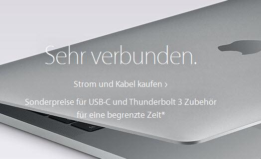 Aktion im Apple-Store: reduziertes USB-C und Thunderbolt-Zubehör (Kabel und Monitore, online/offline)