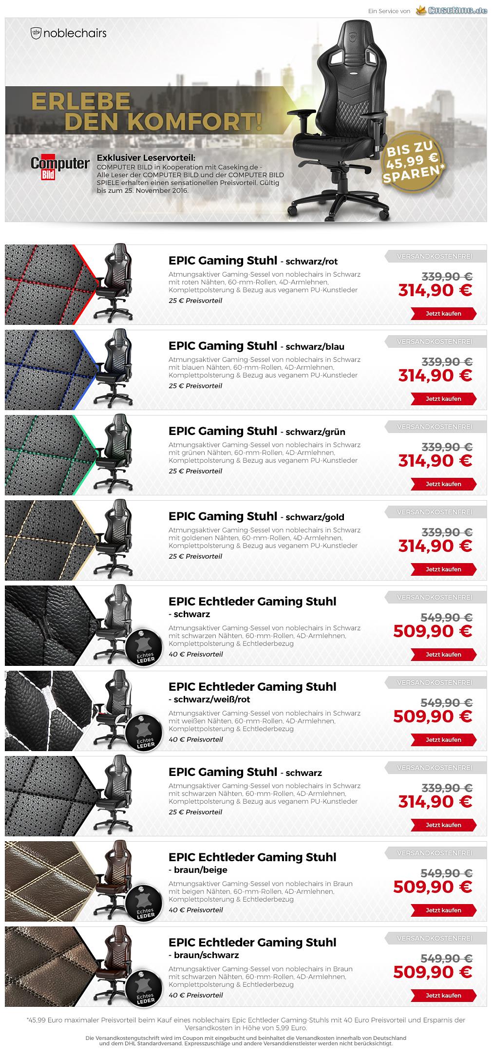 Noblechairs Angebote für alle Modelle [caseking.de]
