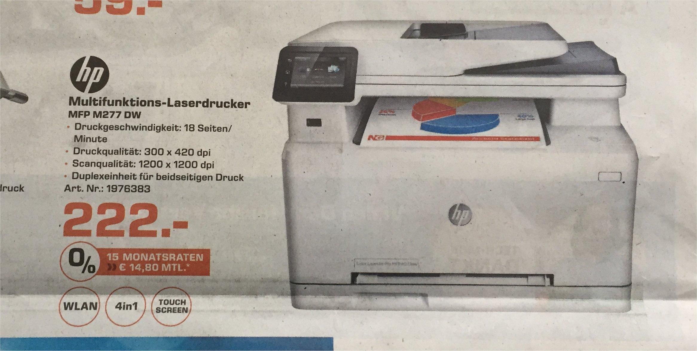 Multifunktions-Laserdrucker  Hewlett Packard MFP 277 DW, Saturn (lokal Köln/Bonn/Rhein-Sieg?)