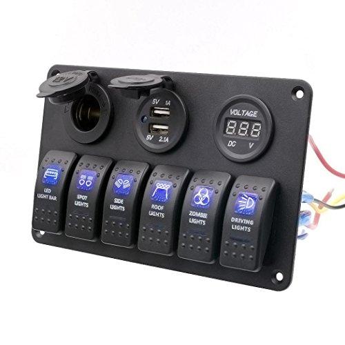 12v-24v Schwitch Panel - 6 Taster - Voltmeter - 2x USB Ladebuchse - Zigarettenanzünder - Amazon Prime