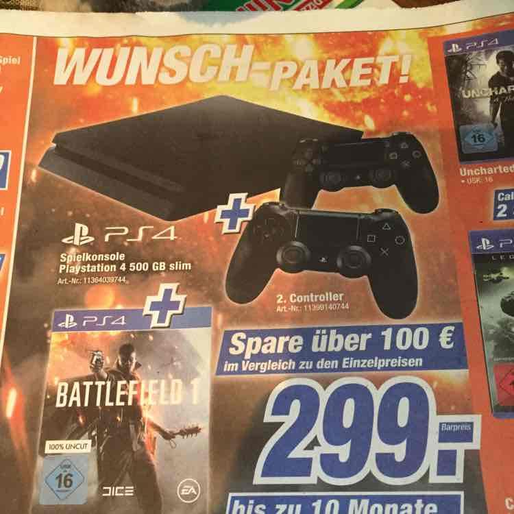 PS4 Slim 500 GB & 2 Controller & Battlefield 1