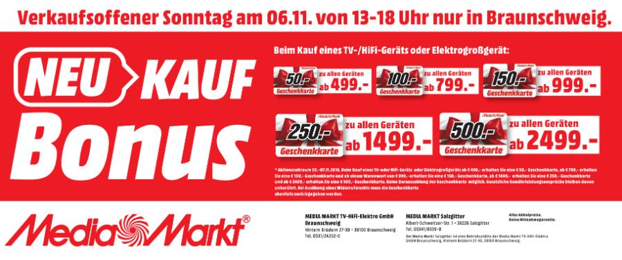 [Lokal] Media Markt Braunschweig bis zu 500€ Geschenkarten für den Kauf von TV, HIFI oder Elektrogroßgeräte