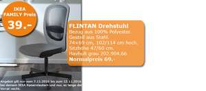 IKEA Kaiserslautern - Flintan Büro Drehstuhl für 39€ statt 69€ im Family Angebot