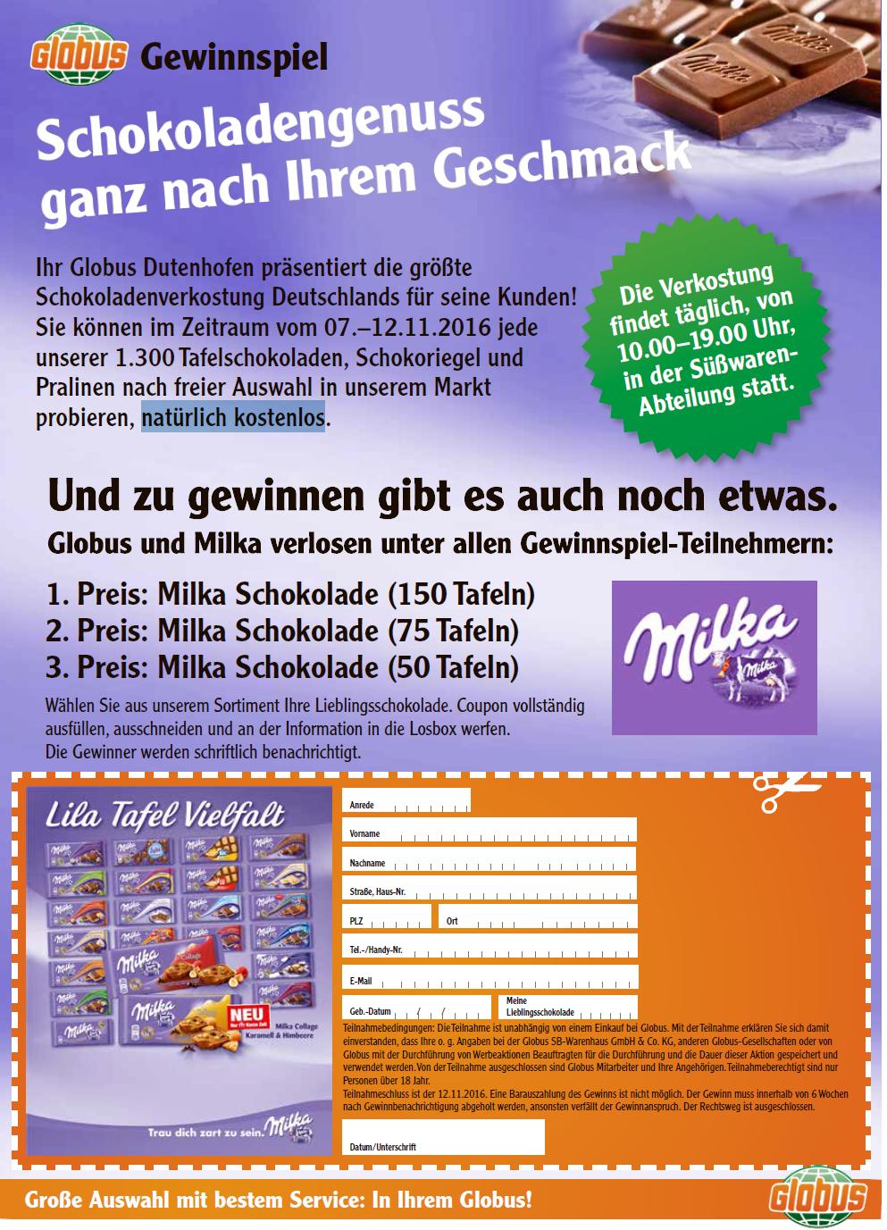 kostenlose Verkostung von Schokolade im Globus Dutenhofen