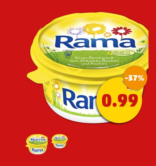 Für die, die ordentlich etwas auf dem Brot haben wollen Rama Original (500 g) statt 1,59 EUR für 0,99 EUR - 37% gespart bei Penny