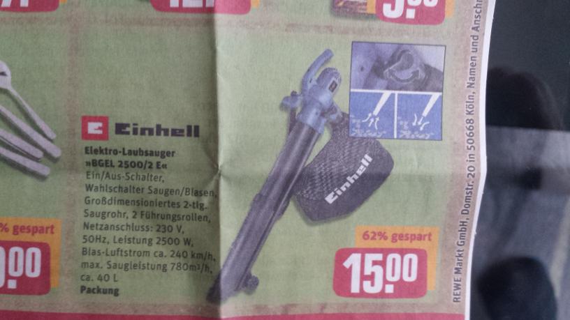 (Lokal REWE Center Norderstedt) Einhell Laubsauger BGEL 2500/2 E für 15€