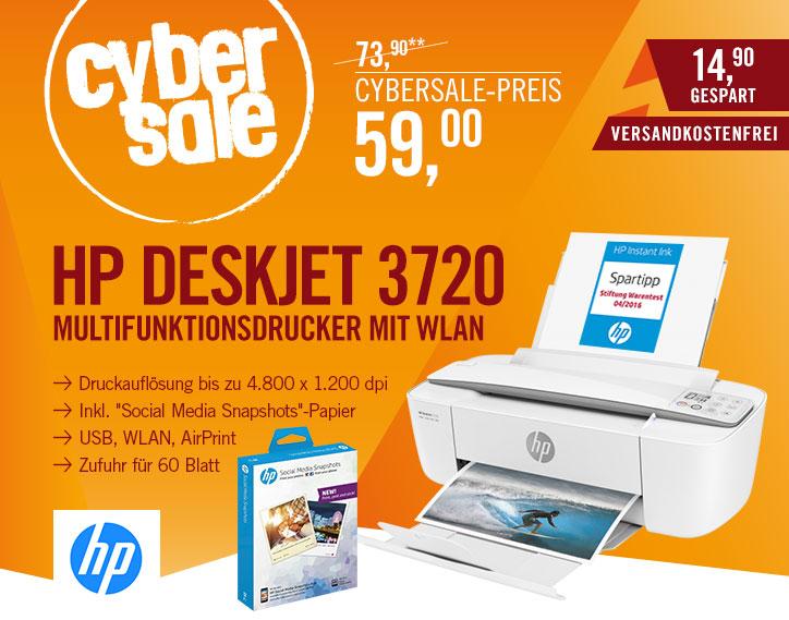 HP Deskjet 3720 mit selbstklebendem Fotopapier für 49€bei Cyberport - MuFu-Drucker *UPDATE*