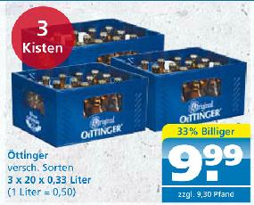 [Toom Getränkemarkt offline] 3 Kisten Oettinger 20 x 0,33l versch. Sorten zzgl. 9,30€ Pfand