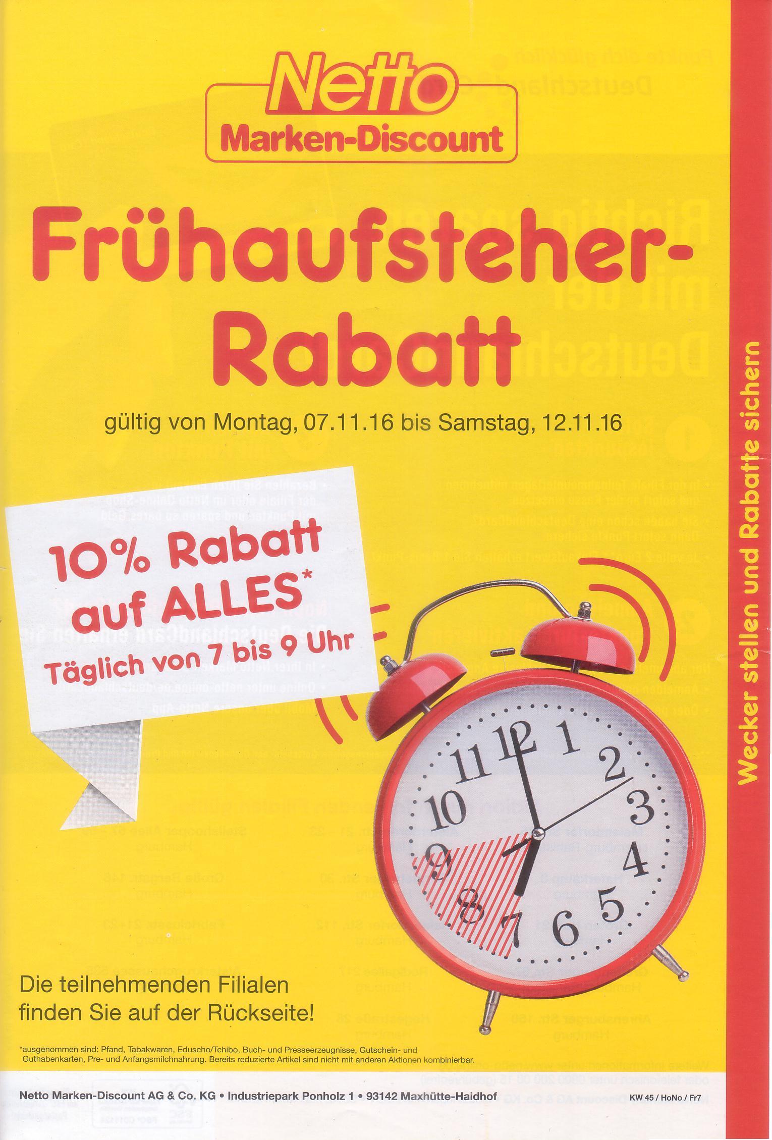 [LOKAL Hamburg] Netto MD Frühaufsteherrabbat -10% ganze KW. zb. 6x Puszta/Pickles/Sellerie statt 4,14 für 2,94 EU