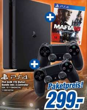 [expert klein] PS4 Slim 1 TB (mit 1 Controller) + Mafia 3 + 1 extra Controller