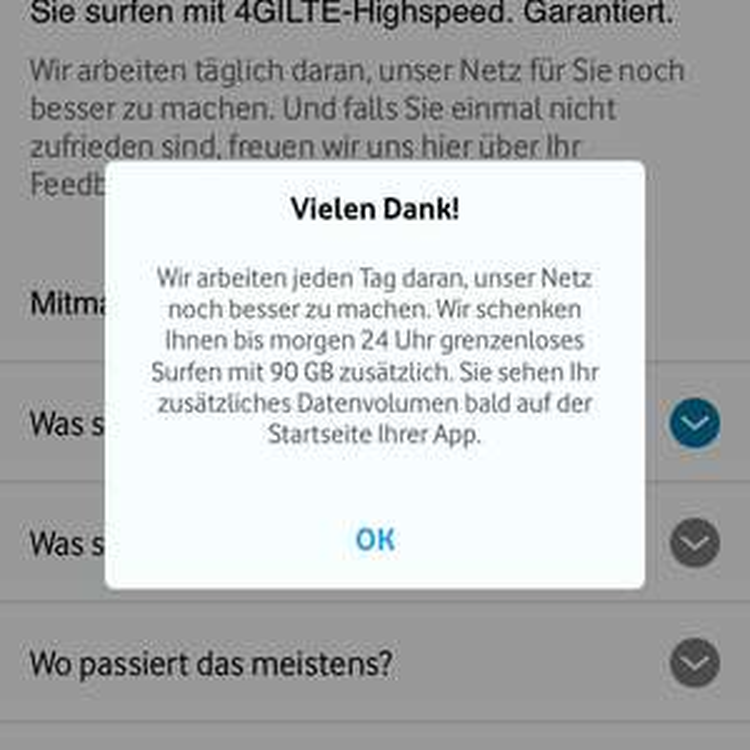 90GB Vodafone Datenvolumen kostenlos!