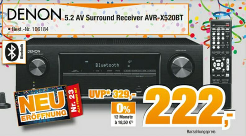 Denon AVR X520BT 5.2 4K Receiver