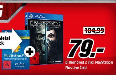 Dishonored 2: Das Vermächtnis der Maske (Exklusives Metal Plate Pack inc. T-Shirt) + PlayStation Plus Live Card 365 Tage für 79,-€ [Mediamarkt GDD]
