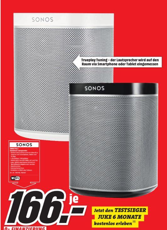 [Loka Mediamarkt Flensburg/Schleswig] Sonos PLAY:1 I Kompakter Multiroom Smart Speaker für Wireless Music Streaming (Weiß oder Schwarz] für je 166,-€