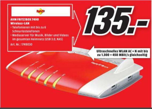 [Lokal Mediamarkt Köln-Chorweiler] AVM FRITZ!?Box 7490 Wireless Lan AC + N Router (VDSL/?ADSL, 1.300 Mbit/s (5 GHz), 450 Mbit/s (2,4 GHz), DECT-Basis, Media Server) für 135,-€