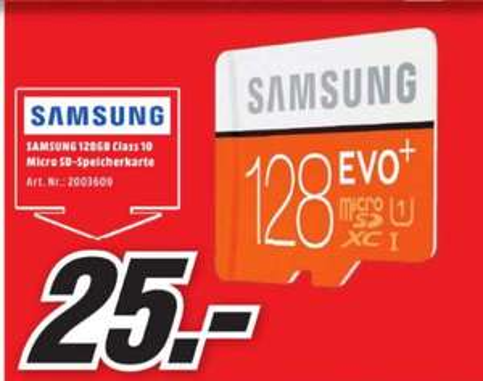 [Lokal Mediamarkt Köln-Chorweiler] Samsung 128GB EVO+ microSD Speicherkarte 80MB/s [+SD-Adapter] für 25,-€