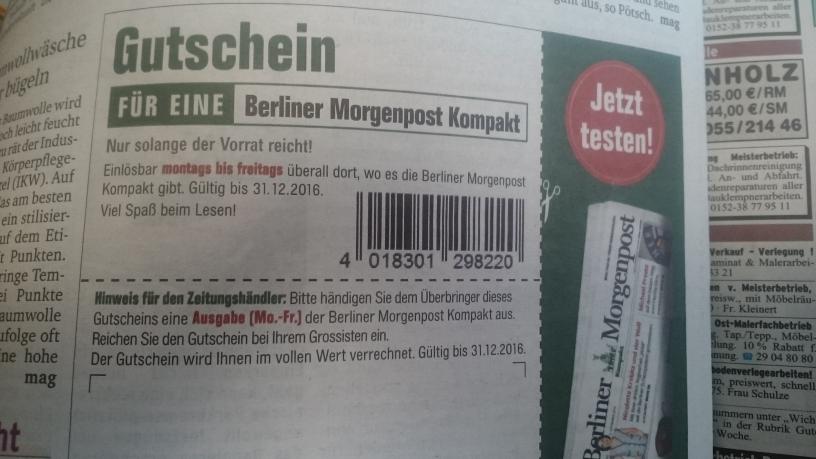 Gratis Berliner Morgenpost Kompakt mit Gutschein aus Berliner Woche KW45 [lokal Berlin]