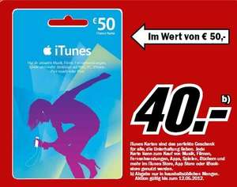 50€ Itunes Guthaben Karte für 40€ @ mediamarkt