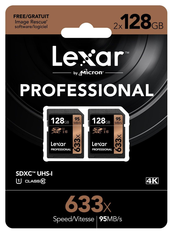 Lexar Professional 633x 128GB SDXC UHS-I-Karte im Doppelpack (256 GB) inkl. Vsk für ca. 72 € > [amazon.com]