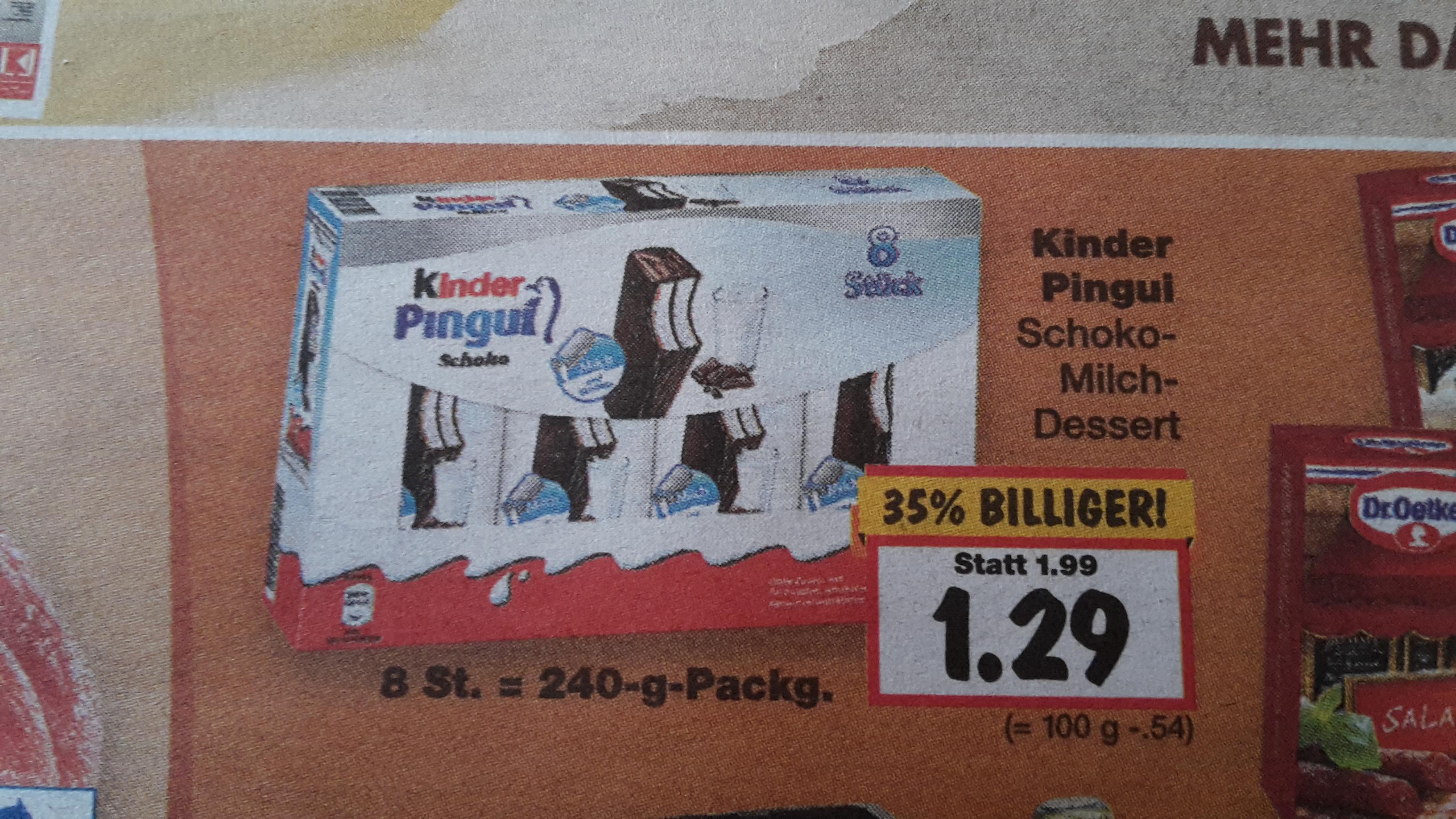 [Kaufland] Kinder Pingui 8er für 1,29€ abzüglich 0,50€ Cashback nur 0,79€