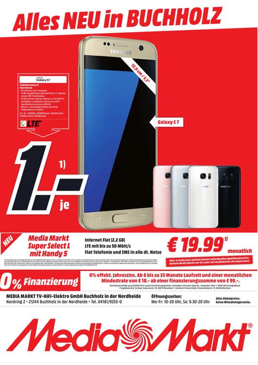 [Lokal Mediamarkt Buchholz] Samsung Galaxy S7 mit Mobilfunkvertrag (O2 Netz) -2.2GB Datenvolumen mit 50Mbit LTE-Telefonie und SMS Flat für insgesamt 510,75€