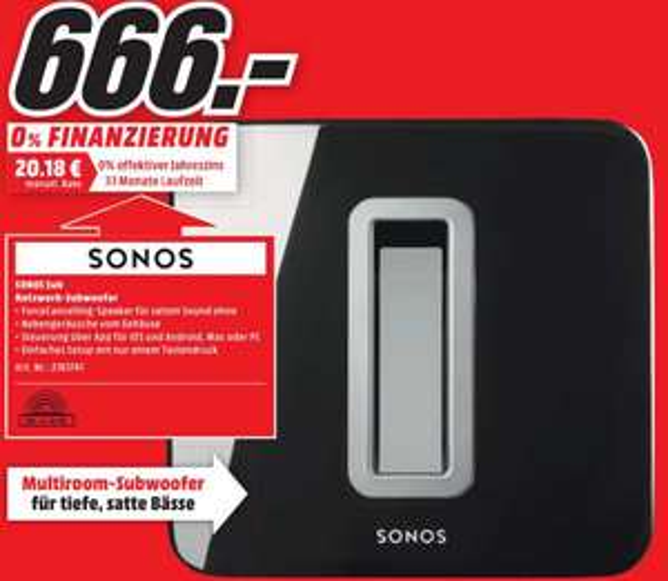[Lokal] Sonos Sub für 666€ im Media Markt Bochum Ruhrpark